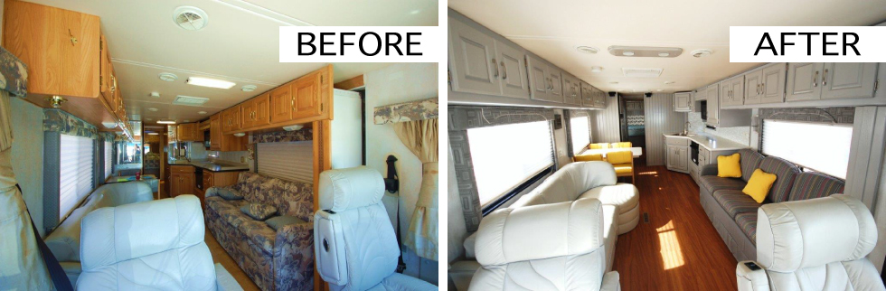 Before and after camper renovations