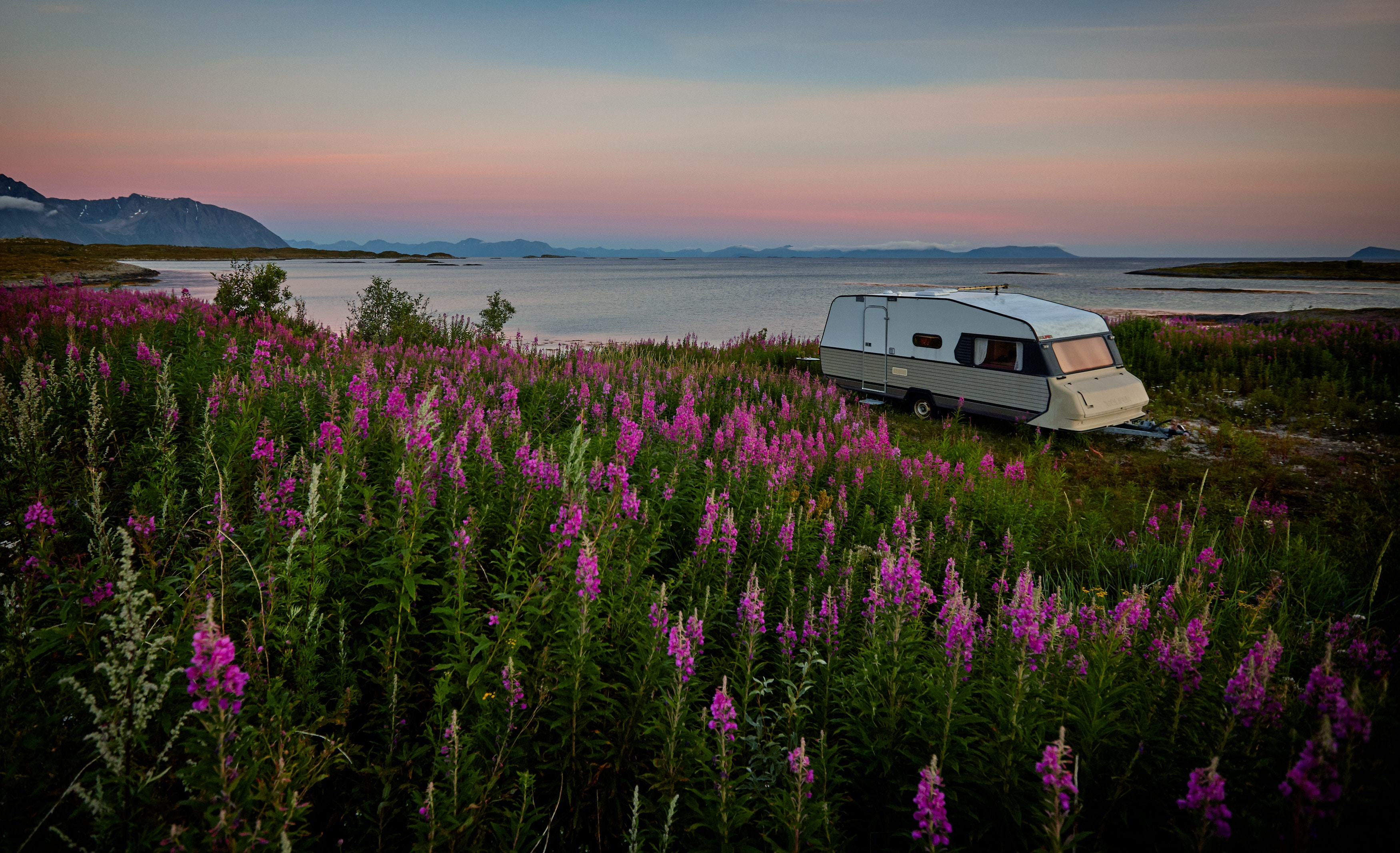rv parked near a beautiful scenery
