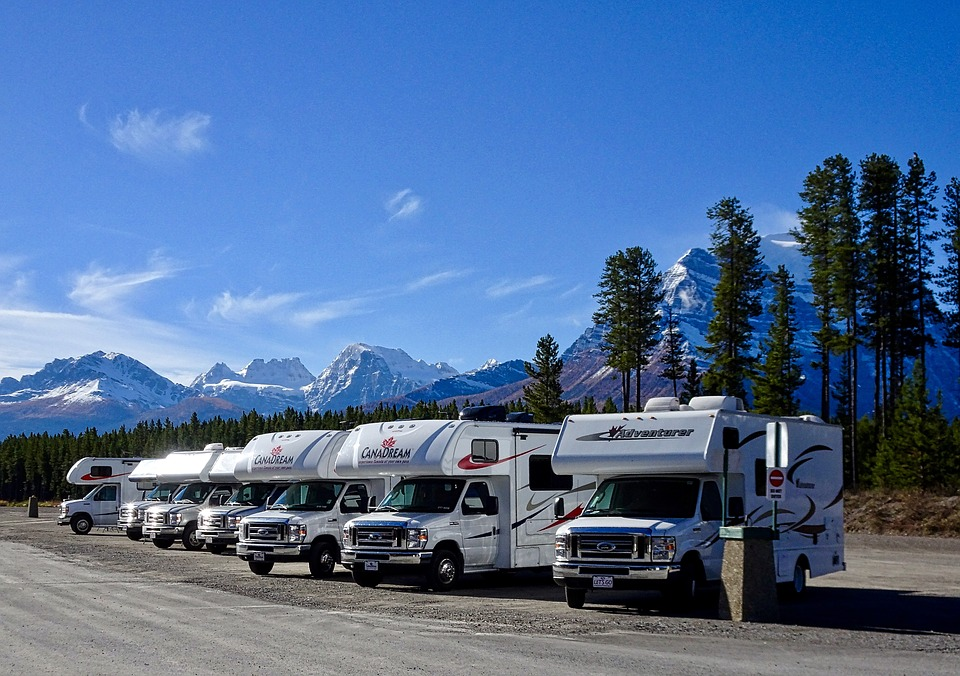 rvs parked and all lined up