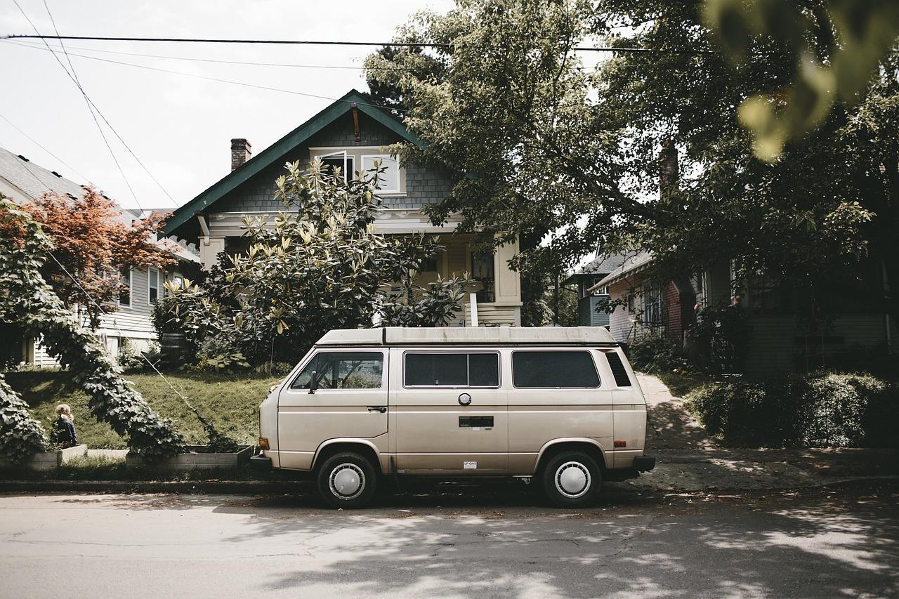 Van parked in driveway