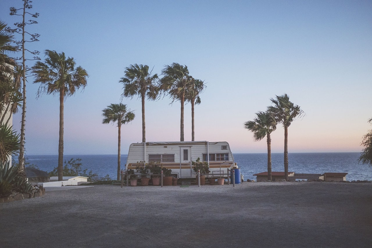 RV parked near palm trees