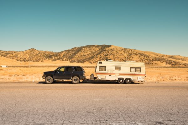 rv in desert road
