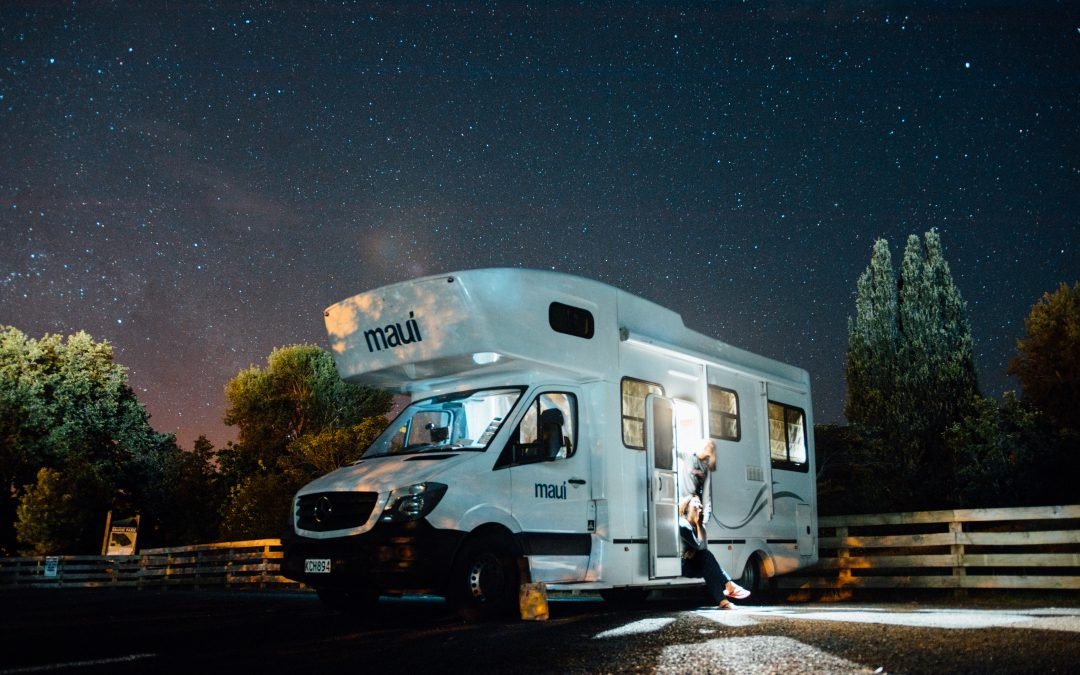 White RV in the middle of the night